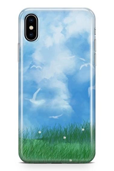 Lopard iPhone Xs Max Kılıf Silikon Arka Kapak Koruyucu Bahar Bulutları Desenli Full HD Baskılı Renkli